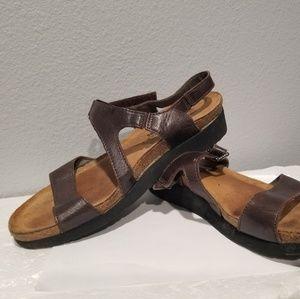 Naot Strap Sandals Brown Leather Womens Sz EUR 38
